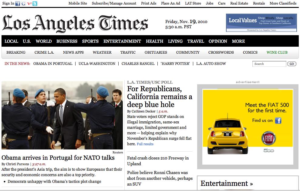 Los Angeles Times - aproximação com a versão em papel