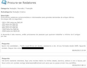 Blogueiros buscam redatores para produção de textos por R$ 2,00